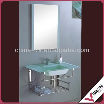 Modern Bathroom Glass Wash Basin Cabinet, Tempered Glass Sink Basin 3007