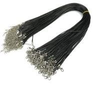 "Black L382Mixed PU Ribbon Necklace Cord with clasp 18"" Waxen Necklace Pendant Cord String"