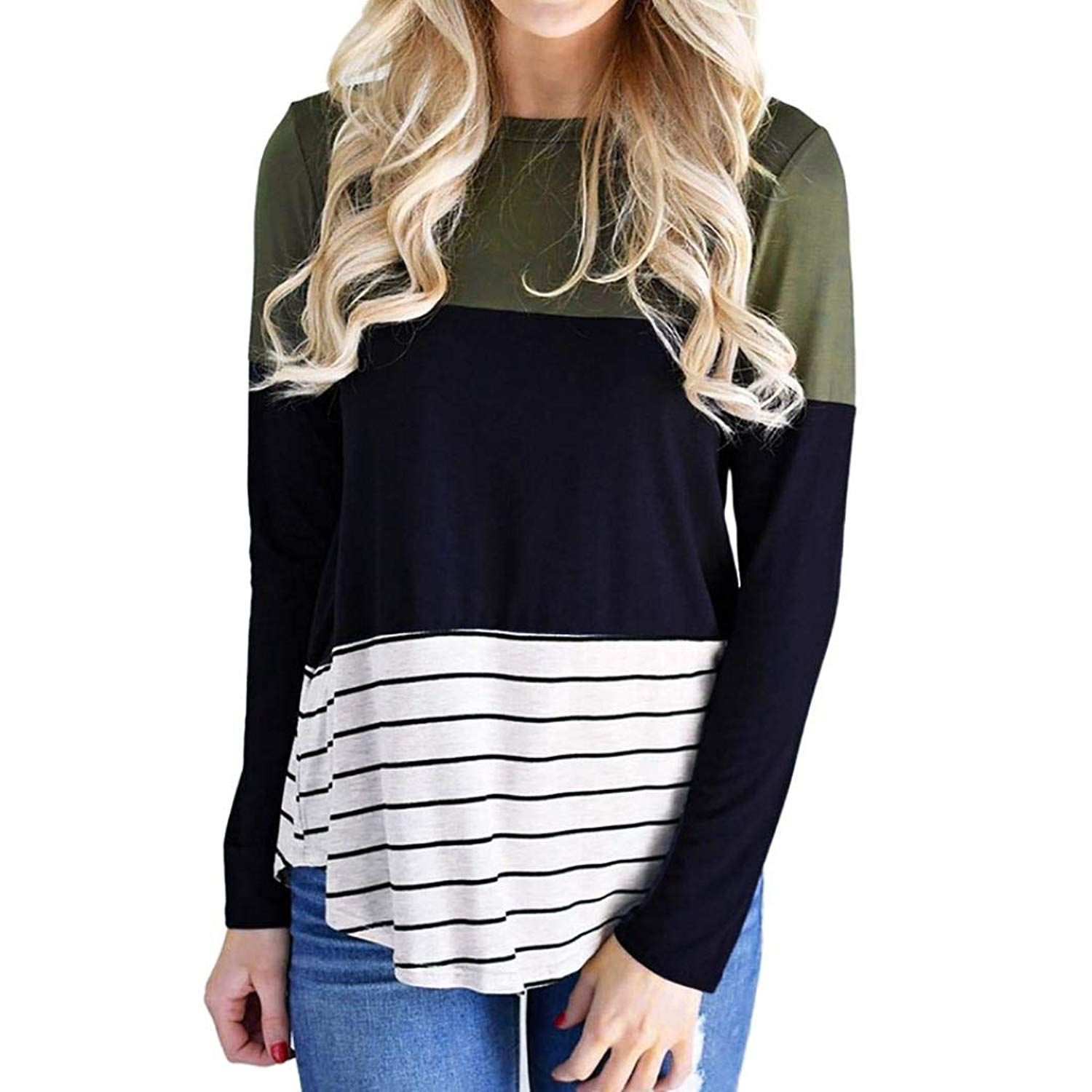 Feitengtd Women's Fashion Autumn Winter Striped T-Shirts Slim Fit Long Sleeve Patchwork Casual Blouse Tops