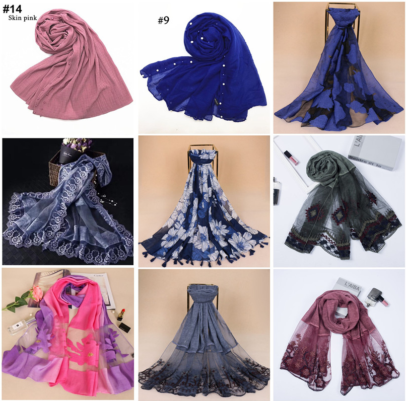 2018 Elegant Wholesale Pretty Cotton Double Printed Flower Scarf Women Hijab