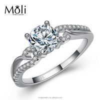 Classic High Quality CZ Diamond Zircon Rhodium Plated 925 Sterling Silver Ring Jewelry for Wedding