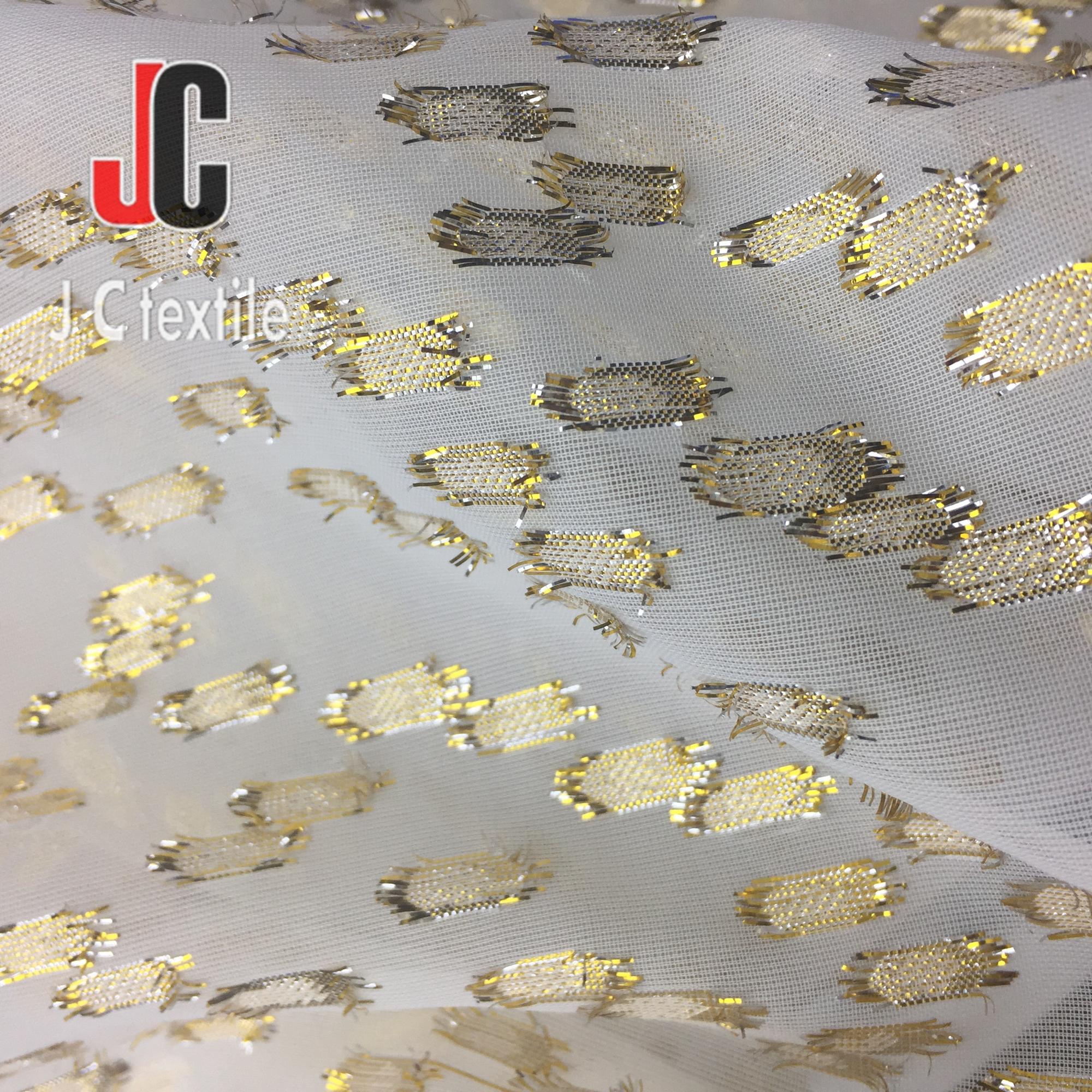 JC-M13663 fashion plain dyed lurex jacquard pure chiffon georgette fabric for dress