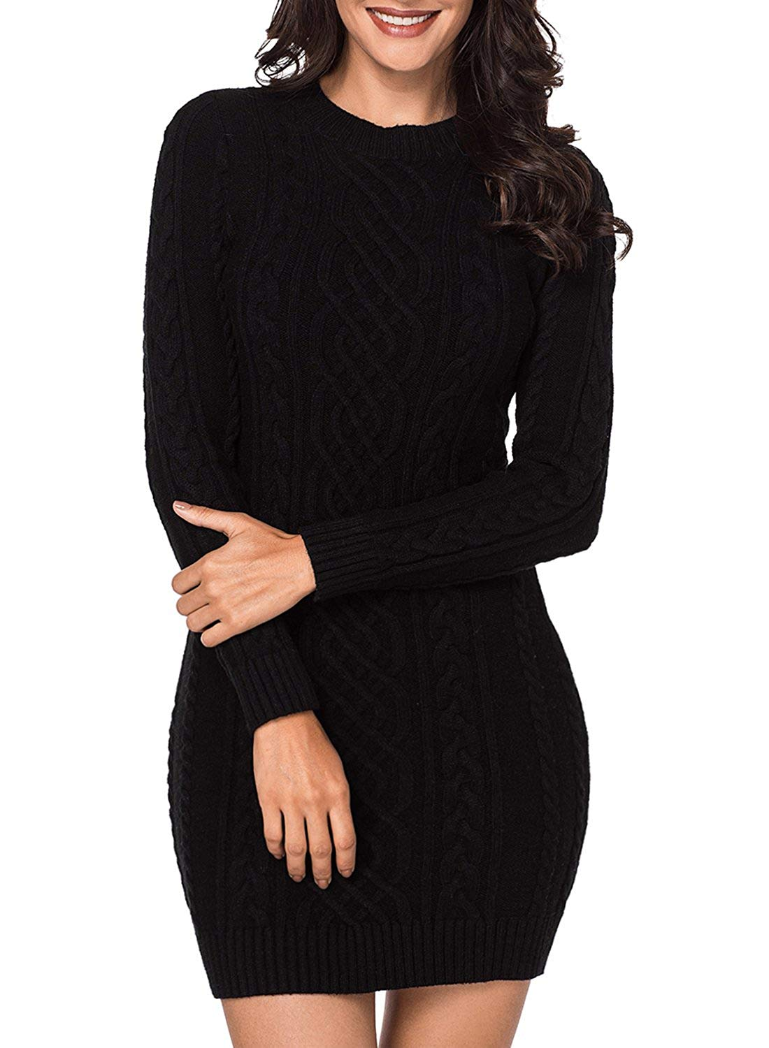 47d6c1a55a0 LOSRLY Women Crew Neck Long Sleeve Cable Knit Bodycon Sweater Midi Dress