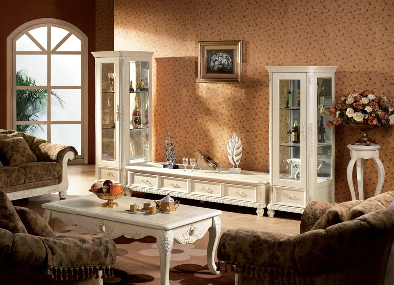 2014 European Style Wooden Tv Wall Unit Was Made From Oak Solid Wood ...