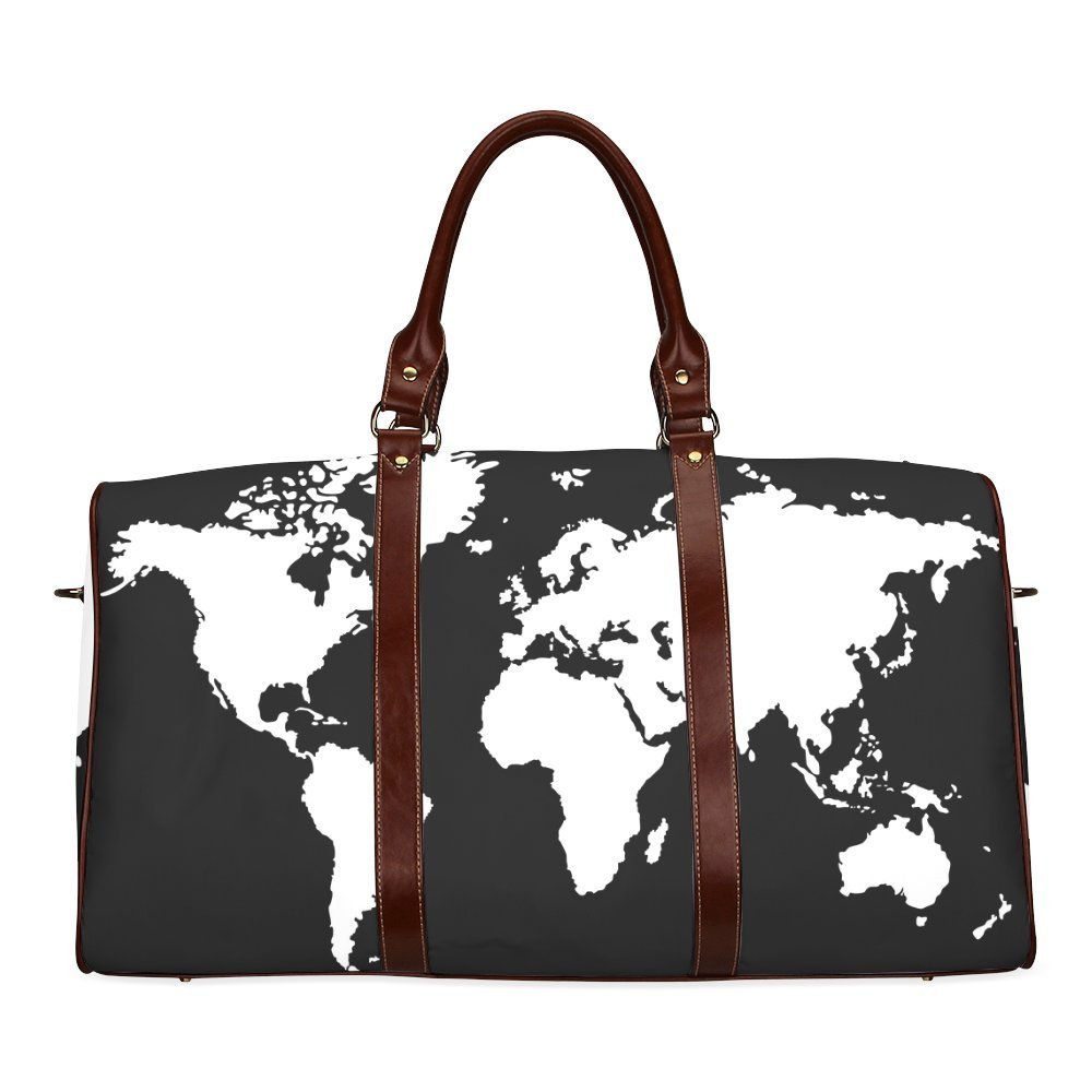 Cheap bag world map find bag world map deals on line at alibaba get quotations world map custom waterproof two sided printing travel duffel bag canvas tote luggage bag leather gumiabroncs Images