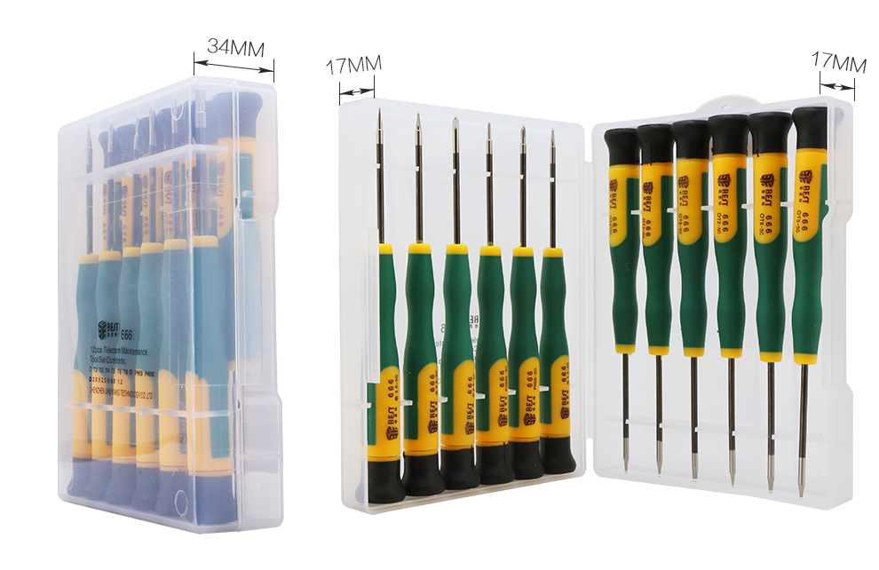 BEST 666 Hand Tool 12 in 1 Phillips Torx Pentalobe Y Type Electronic Precision Magnetic Cell Phone Repair Screwdriver Set