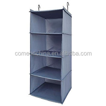 4 Tiers Oxford Collapsible Space Saver Closet Hanging Shelves