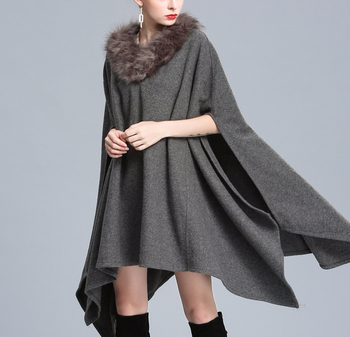 Wholesale Warm faux fox fur collars shawl Women Wool Cape