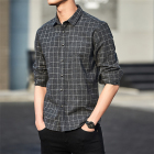 New fashion thin long-sleeve mens Korean the handsome Slim Korean youth casual retro shirt
