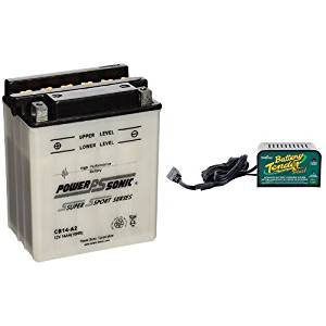 Power-Sonic CB14-A2 Conventional Powersport Battery and Deltran Battery Tender (021-0128) 1.25 Amp Battery Charger Bundle