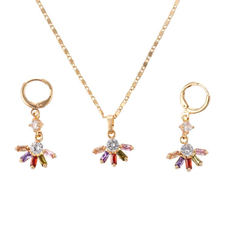 HengDian Fashion Heavy Kundan Moti Copper 18K Gold Plated Alloy Costume Jewelry Set