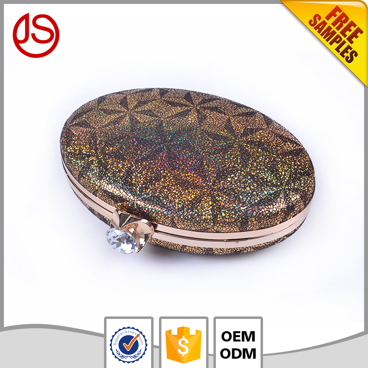 New Design Gold and Brown PU Leather Bag Ladies Clutch Bags For Dinner