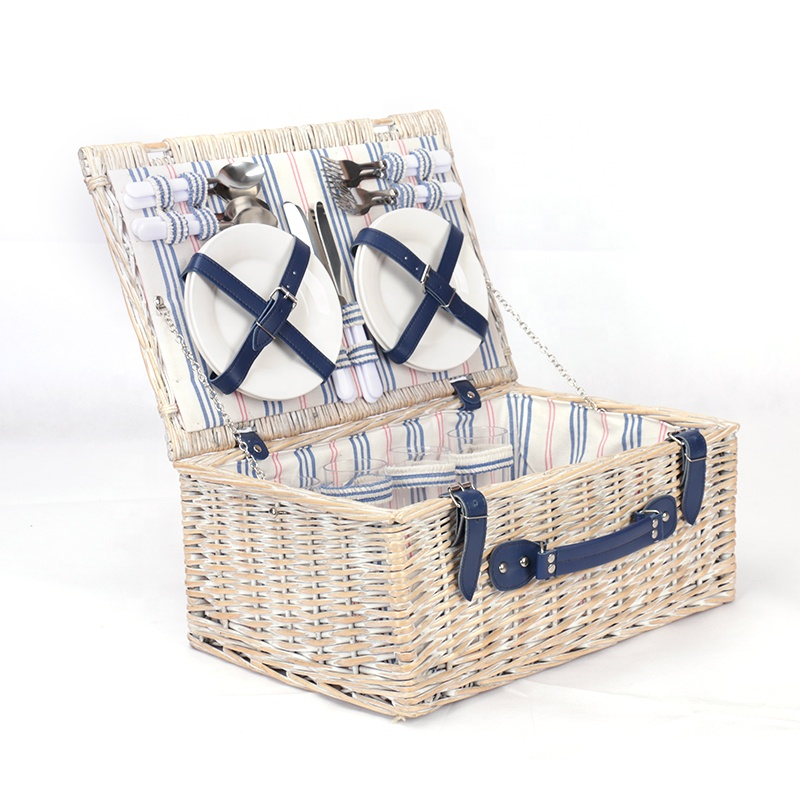 Time-limited Promotion Willow Handicraft Cutlery Set Picnic Food Storage Basket