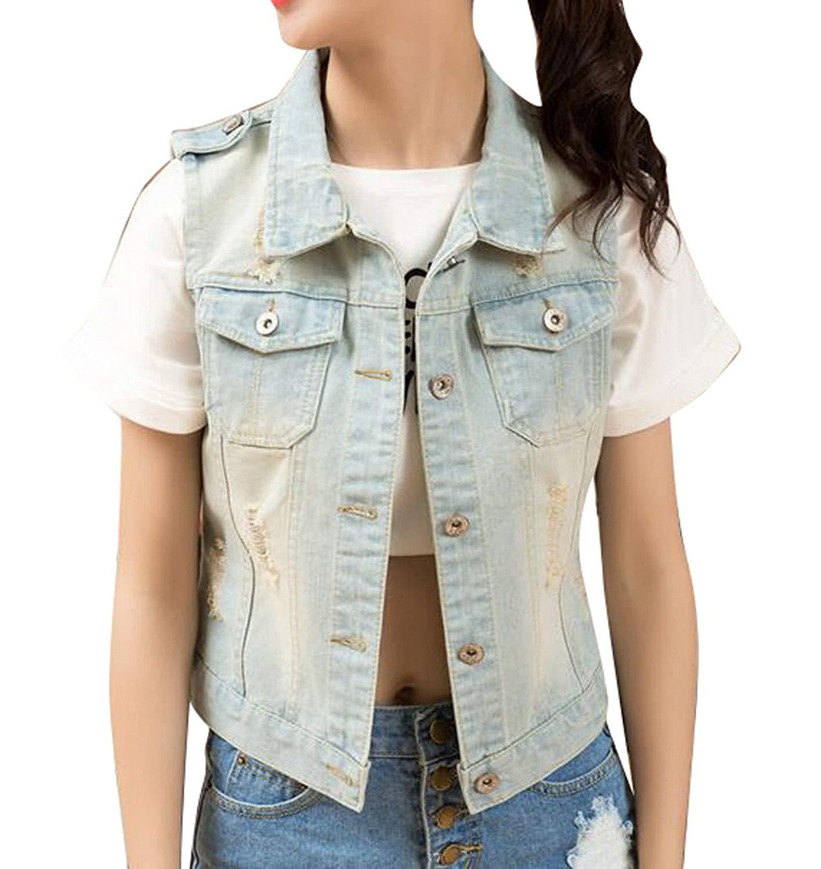 795a8593d4d Get Quotations · Fensajomon Women Fashion Casual Sleeveless Slim Fit Ripped  Denim Vest Sleeveless Jean Jacket Gilet