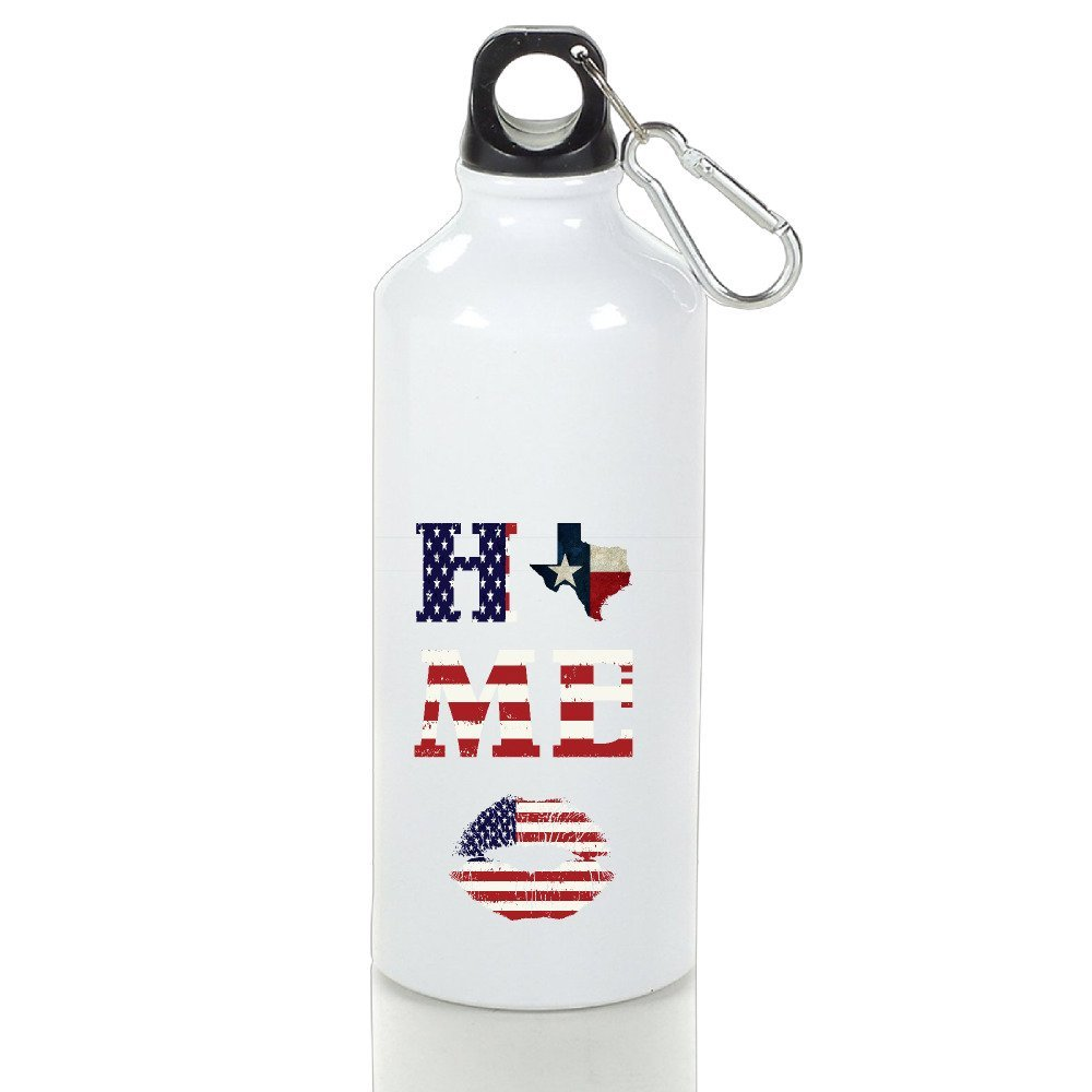 NEWTHREE USA Flag Home Of State Of Texas Map Aluminum Water Bottle Are Suitable For Outdoor And Sport Activities