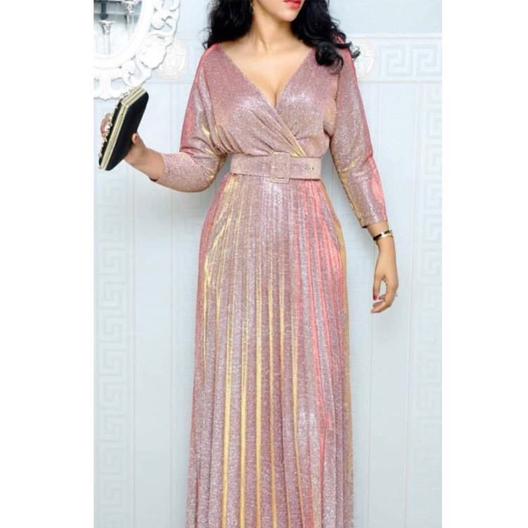 African Fashion Women Sexy Sequin Plus Size Dresses 3/4 Sleeves Shiny Pleated Maxi Dress with Belt