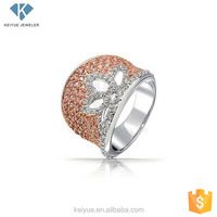 Durable Material and cheap price break through traditional Silver Pink and White Flower wholesale stack rings