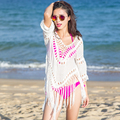 2016 Summer women Cover Up Bikini Bathing Suit Tassel irregular beach tunic Hollow Out Sexy BeachWear