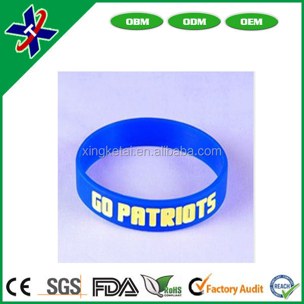 debossed with filled color china cheap and high quality silicone bangle