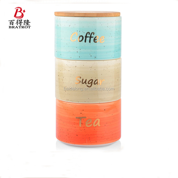 Coffee Tea Sugar Canister Set In