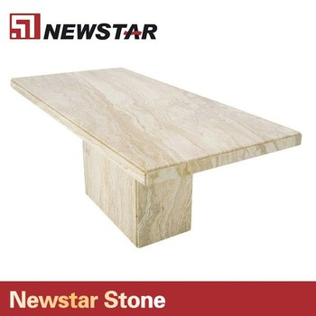 Newstar Hot Polished Manufacturer Travertine Marble Dining Table Top Dinning