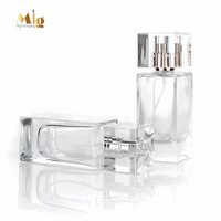 Rectangle clear refillable spray perfume bottles 30ml 50ml glass