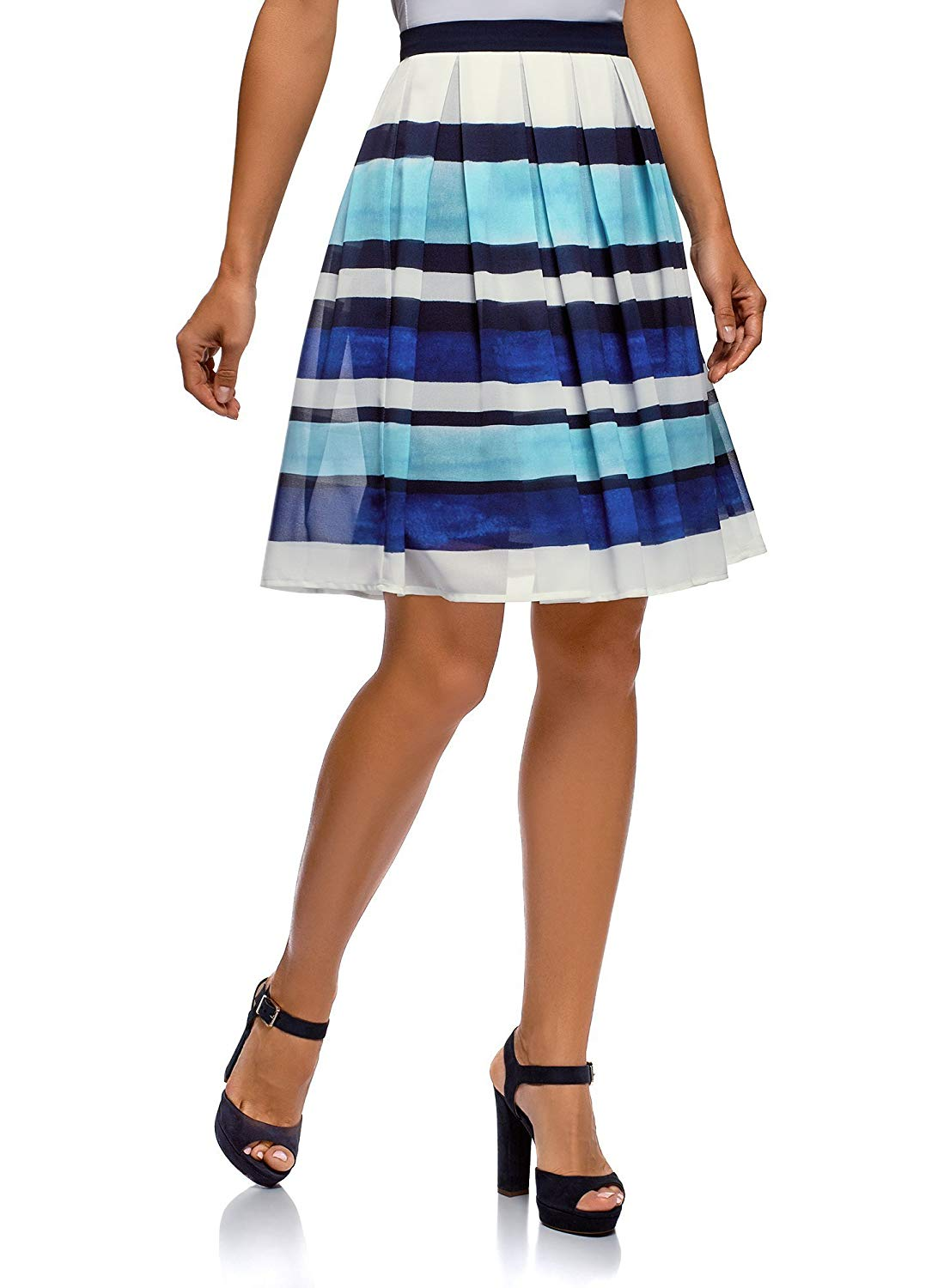 ab64011917 Get Quotations · oodji Collection Women's Pleated Skirt in Flowing Fabric