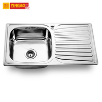 Manufacturer Inox Single Bowl German Stainless Steel Kitchen Sink with Drainer