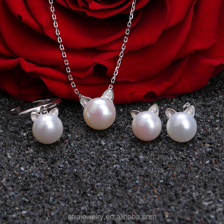 Wholesale Fashion Trendy Little Cat Bridal Silver Jewelry Set