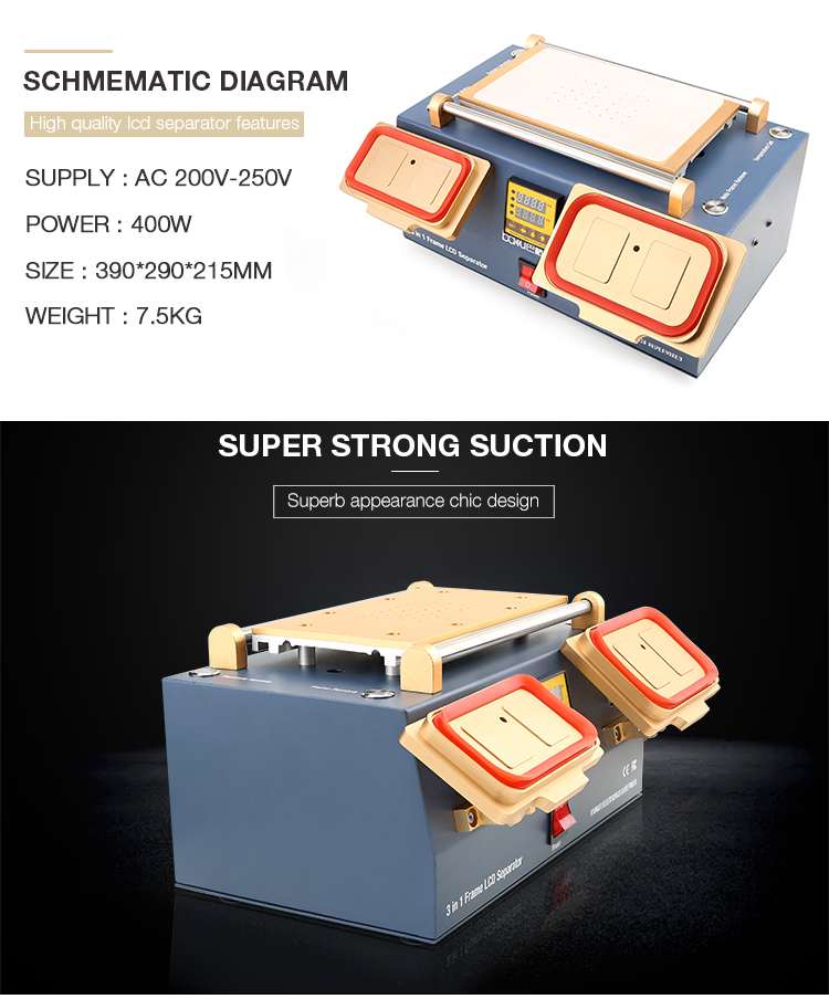 ba 960 BAKU 3 in 1 lcd screen repair Preheater + Bezel Middle Frame lcd Separator Machine + Vacuum LCD Screen Separator