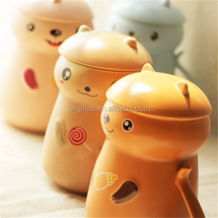 OXGIFT creative cute cartoon squirrel ceramic porcelain water milk coffee breakfast cup with lid and spoon