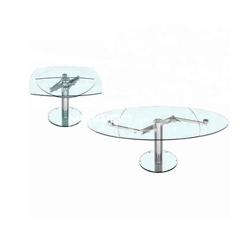 Extension Lift Oval Glass Top Dining Table With Chromed Base For