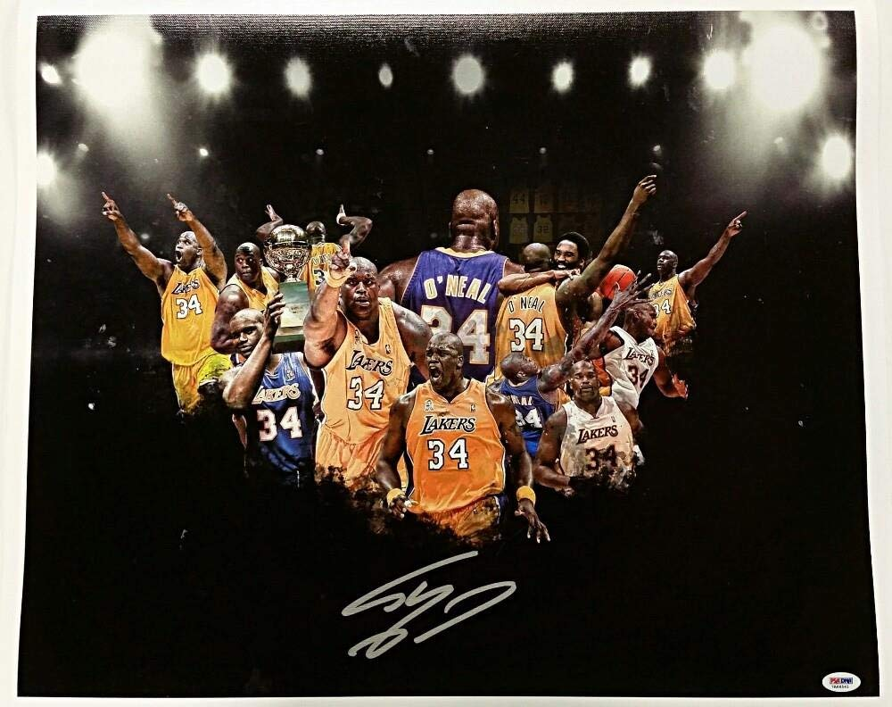 d65b4393cbc2 Get Quotations · SHAQUILLE O NEAL Signed 16x20 Canvas Photo LAKERS HOF Shaq  Auto w  PSA