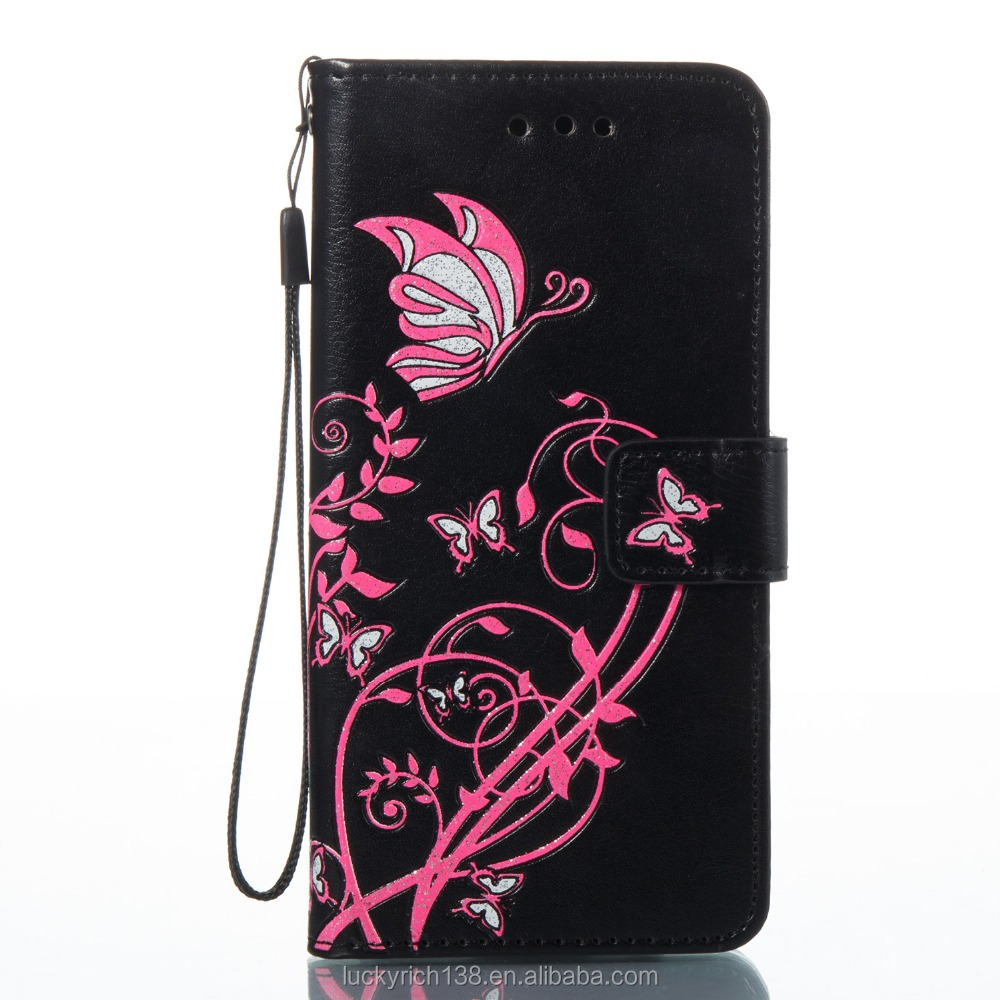2017 new customized leather phone case with butterfly for Sony E5