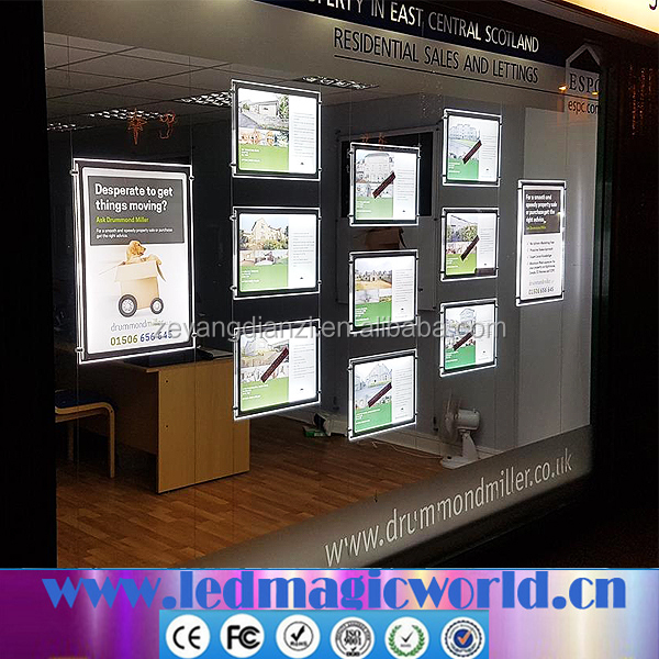 New cable floating led backlit display kits with a3 a4 window single sided led light pocket