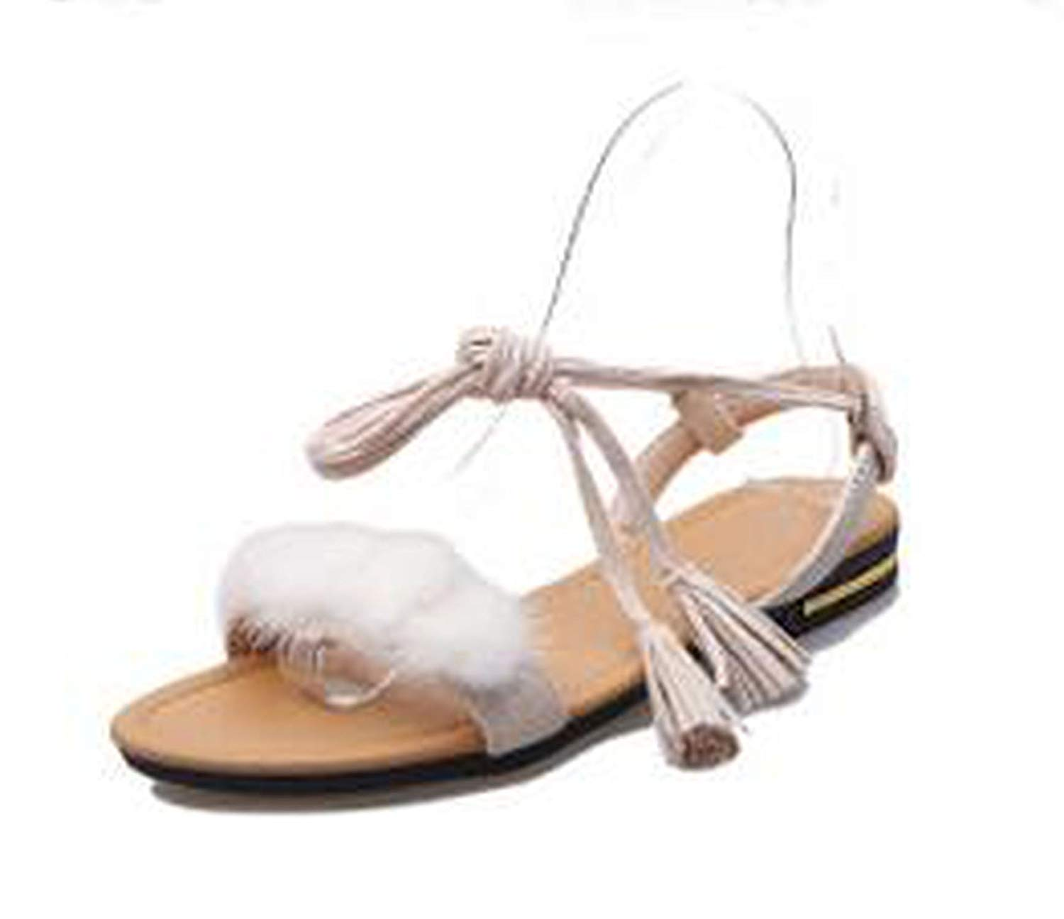 Wedding Beach Sandal Real Fur Ankle Strap Gladiator Sandals Flats Tassel Shoes