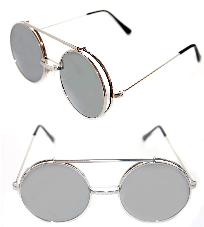 0adf2d61ea9c0 Men s Women s Round Shape Flip up Django Sunglasses and Clear Lenses Eye  Glasses