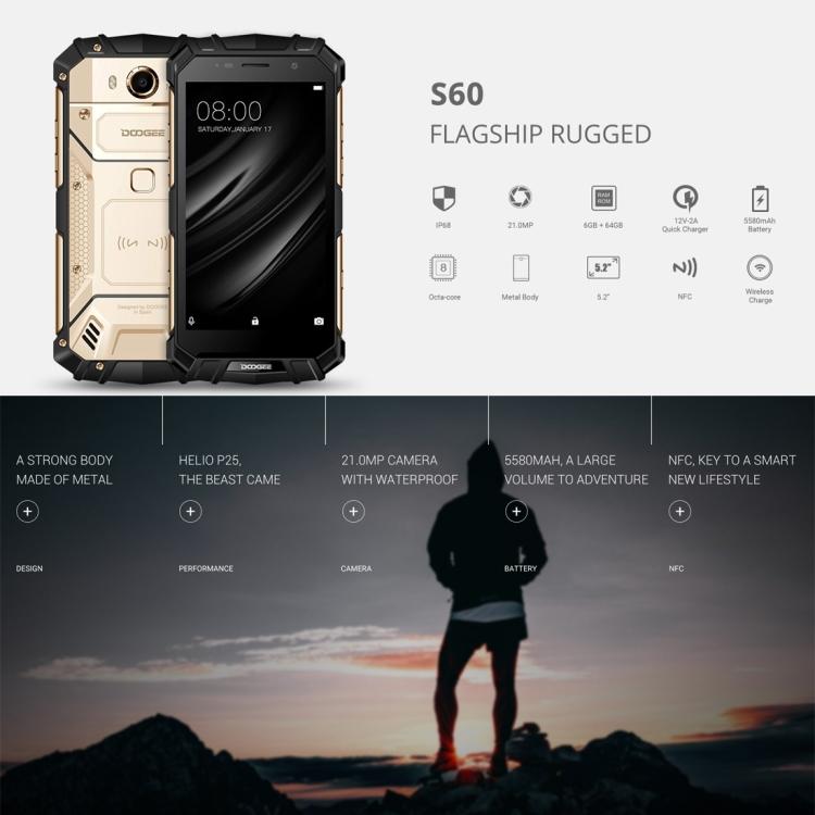 Newest design DOOGEE S60 Triple Proofing Phone 6GB 64GB IP68 Waterproof Dustproof Shockproof NFC OTA smartphone