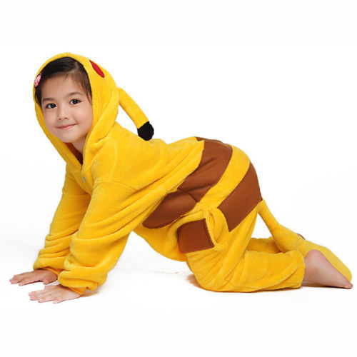 Get Quotations · Children Kids Flannel Animal Pajamas Anime Cartoon  Costumes Sleepwear Cosplay Onesie Pikachu 3ab3fa667e9aa