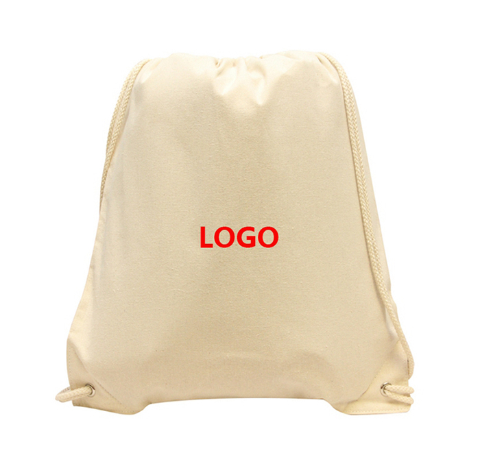 Wholesale Cheap Personalized Natural Cotton Drawstring Bag Drawstring Shopping bag
