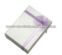 2012 hot product custom elegant white paper book shape chipboard craft boxes with ribbon