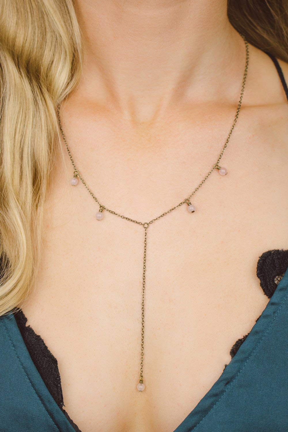 """Boho rose quartz lariat y necklace in bronze - 18"""" chain with 2"""" adjustable extender - January birthstone"""
