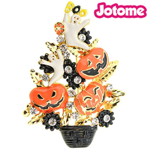 100 pcs/lot 50mm Plating Gold Halloween Spooky Tree With Pumpkin For Gift Brooch