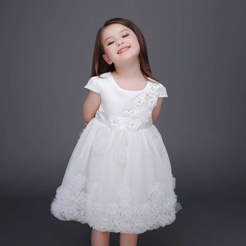 Latest Formal Dress Patterns White Satin Flower Girls Dress Kids