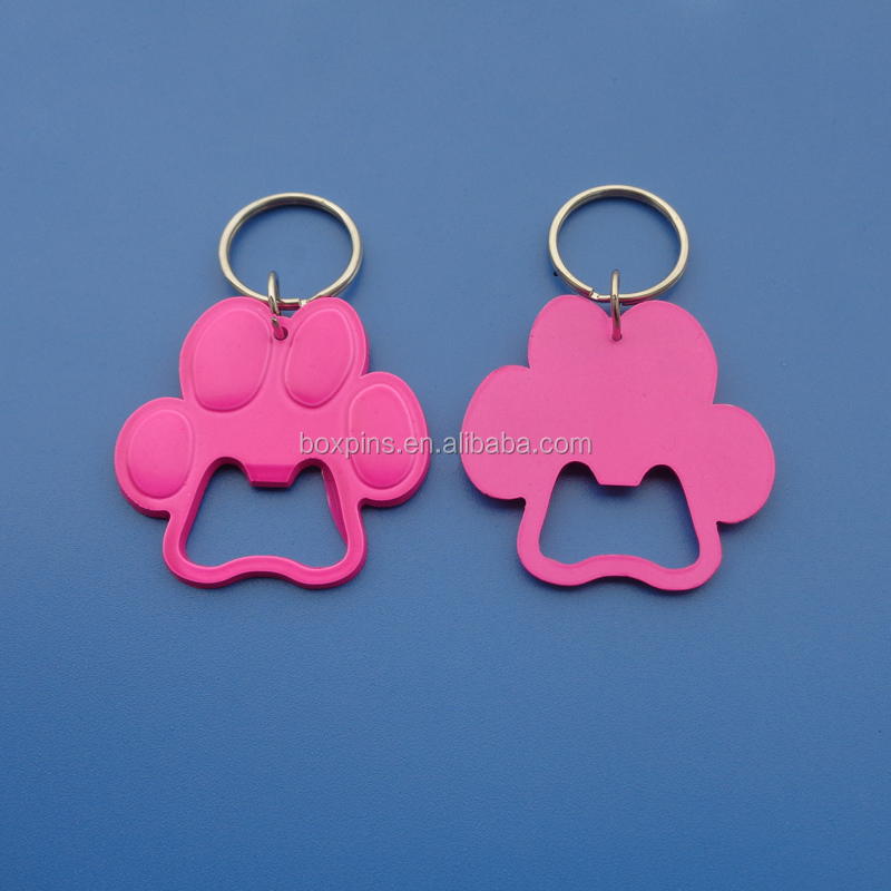 dog paw shape pink painted bottle opener keychain holder