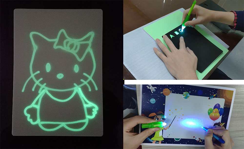 Most popular kids flashing painting educational drawing toy magic aqua doodle mat from china