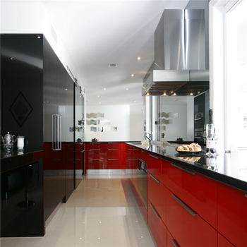 Color Combination Kitchen Units Black Lacquer Pantry Red Lacquer Base  Cabinets