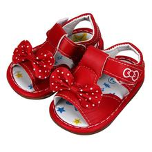 Splendid 2016 new arrival Kid Toddler New Bowknot Girls Printed Sandals Soft Soled Baby Shoes 5