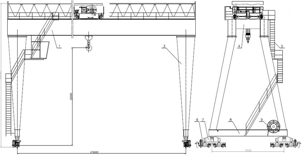 gantry cantilever crane 200t span 25 m