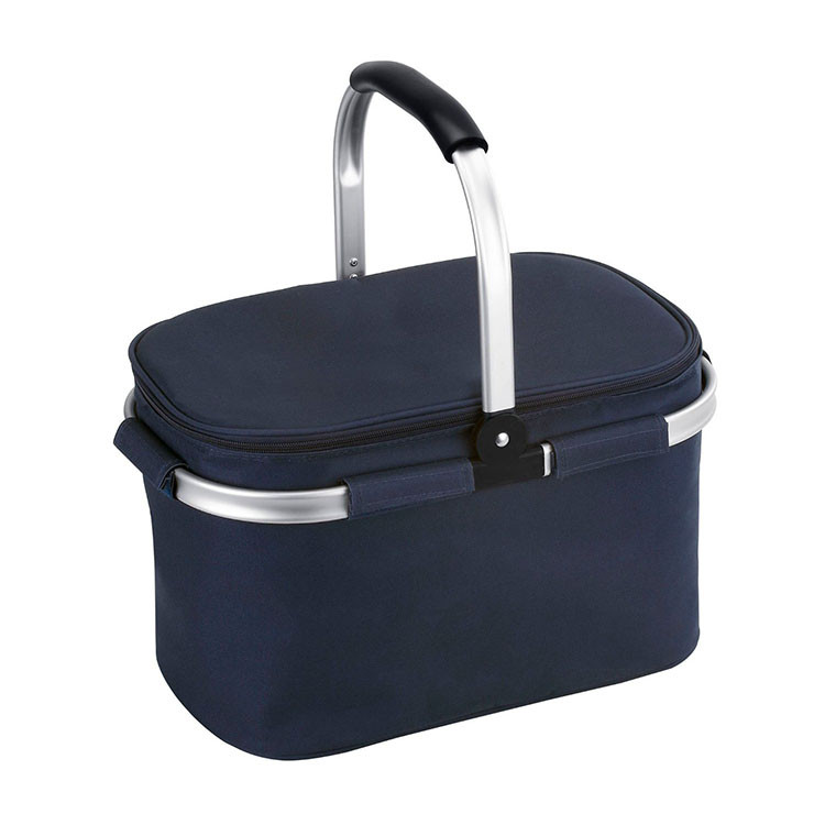 Small collapsible picnic cooler bag to store wine and cheese for travelling or camping